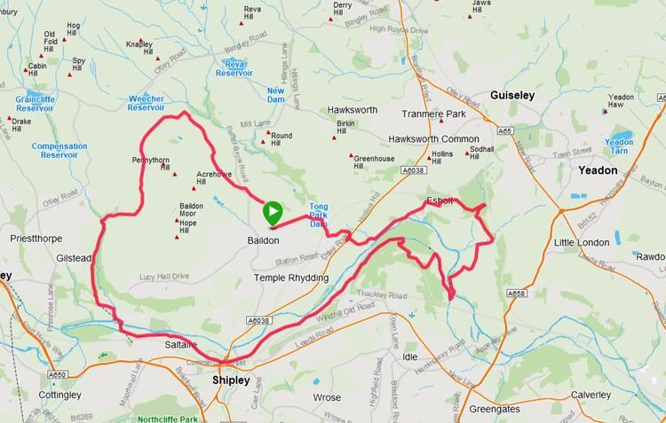 Baildon Boundary Way Half Marathon Course Map