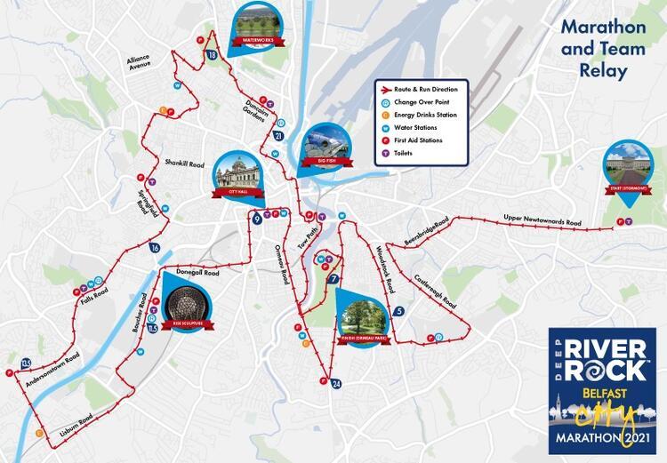 Belfast Marathon Course Map