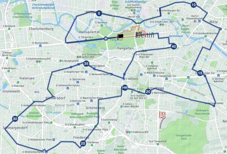 Berlin Marathon Course Route Map
