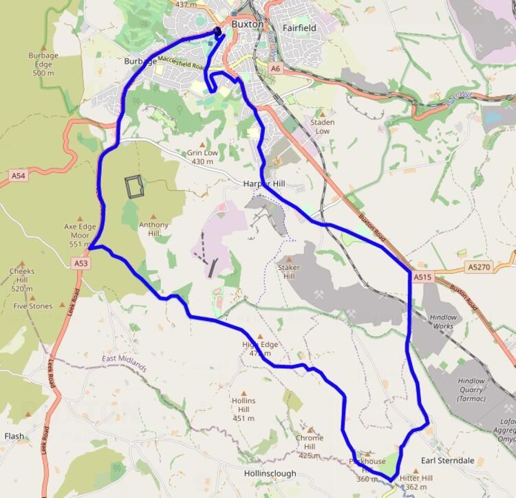 Buxton Half Marathon Course Map
