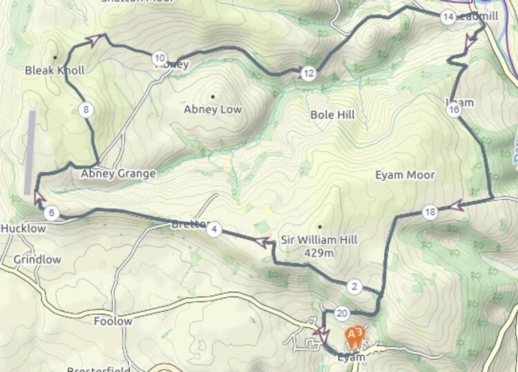 Eyam Half Marathon Course Map