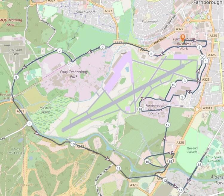 Farnborough Half Marathon Race Route Map