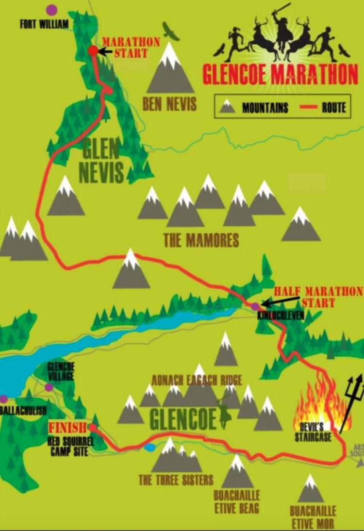 Glencoe Marathon Race Course Map