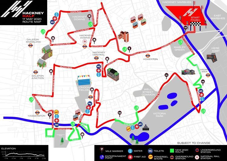 Hackney Half Marathon Race Course Map