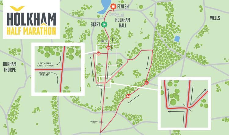 Holkham Half Marathon Race Route Map