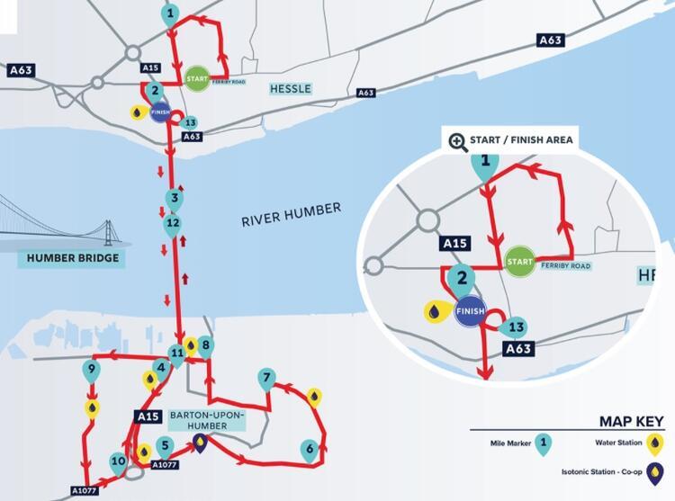 Humber Bridge Half Marathon Course Map