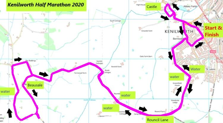 Kenilworth Half Marathon Route Map