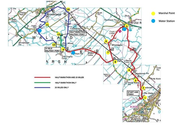 Lydd Half Marathon and 20 mile Race Route Maps