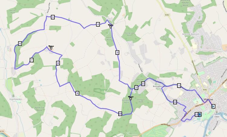 Marlow Half Marathon Route Course Map