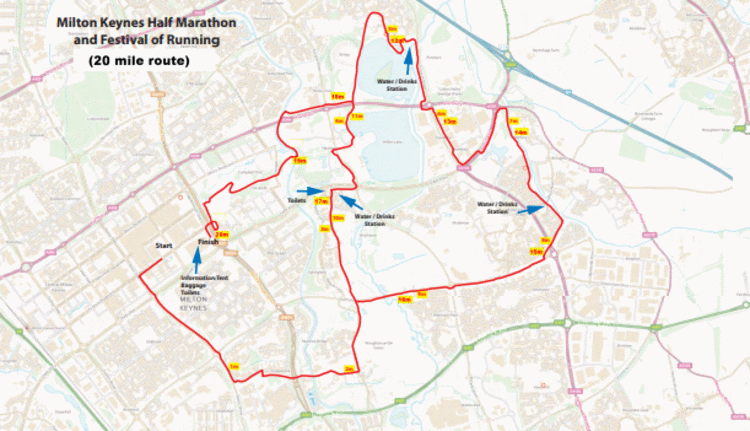 MK Festival of Running 20 Mile Course Map