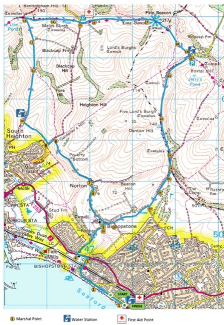 Martello Half Marathon Race Route Map