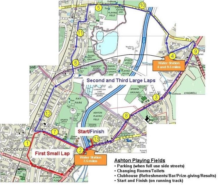 Roding Valley Half Marathon Race Route Map
