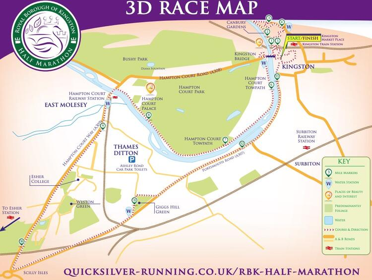 Royal Borough Kingston Half Marathon Route Map