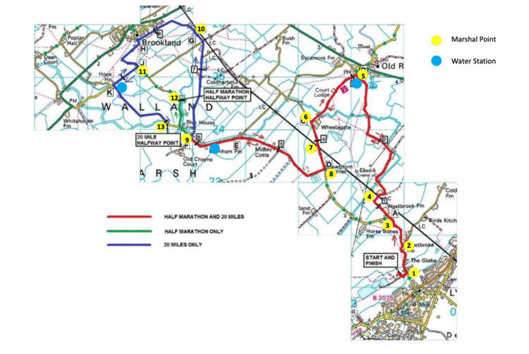 Lydd half marathon and 20 mile race routes