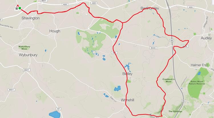 South Cheshire 20 Course Route Map