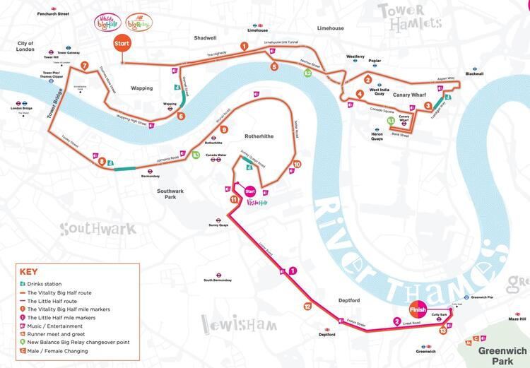 The Big Half London Race Route Map