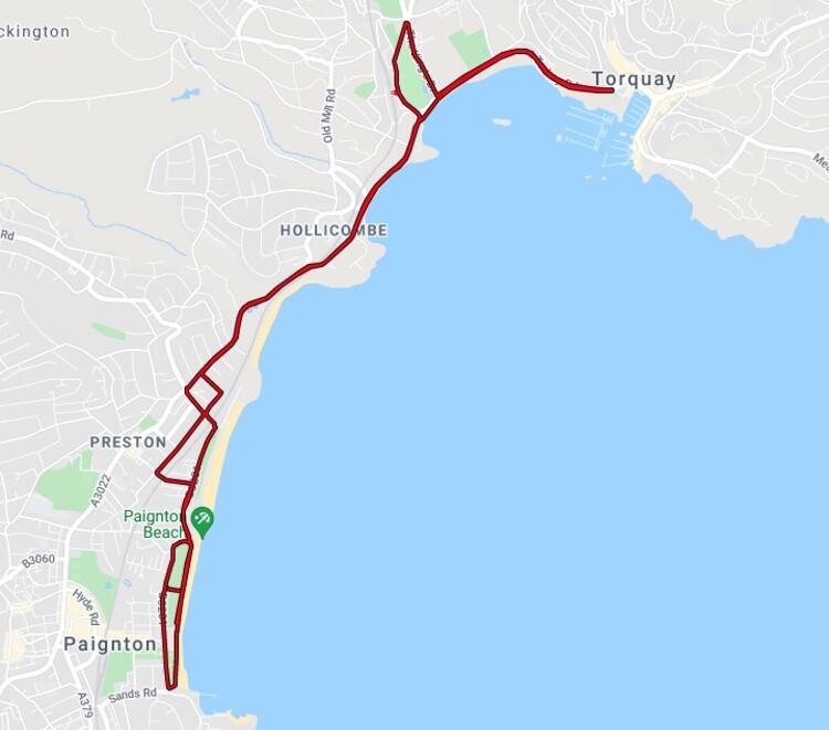 Torbay Half Marathon Course Route Map