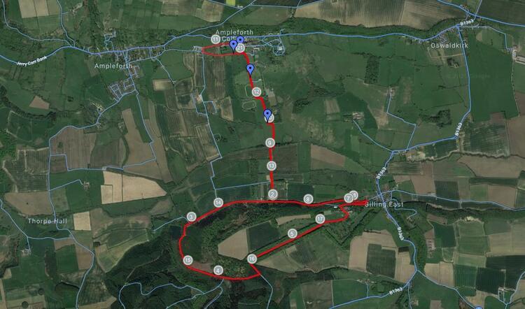 Yorkshire Ryedale Half Marathon Route Map