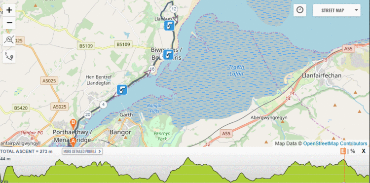 Anglesley Half Marathon Route and Elevation