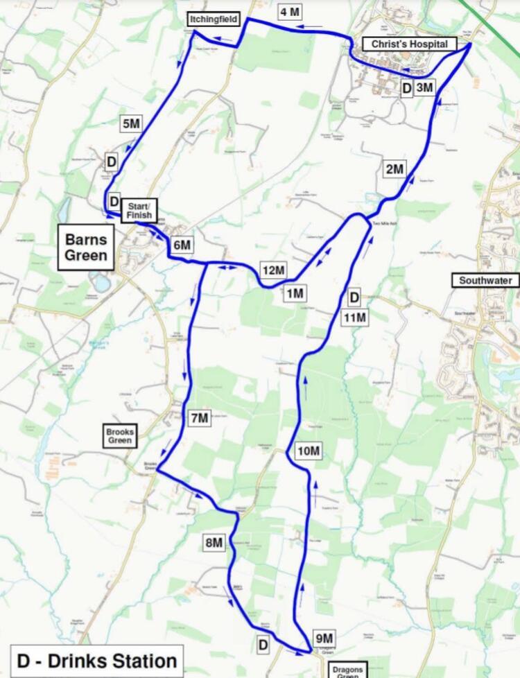 Barns Green Half Marathon Course Map