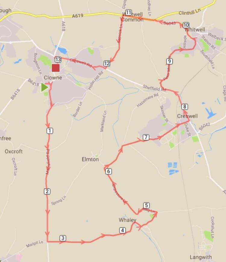 Clowne Half Marathon Route Map