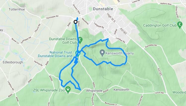 Dunstable Downs Trail Half Marathon Course Map