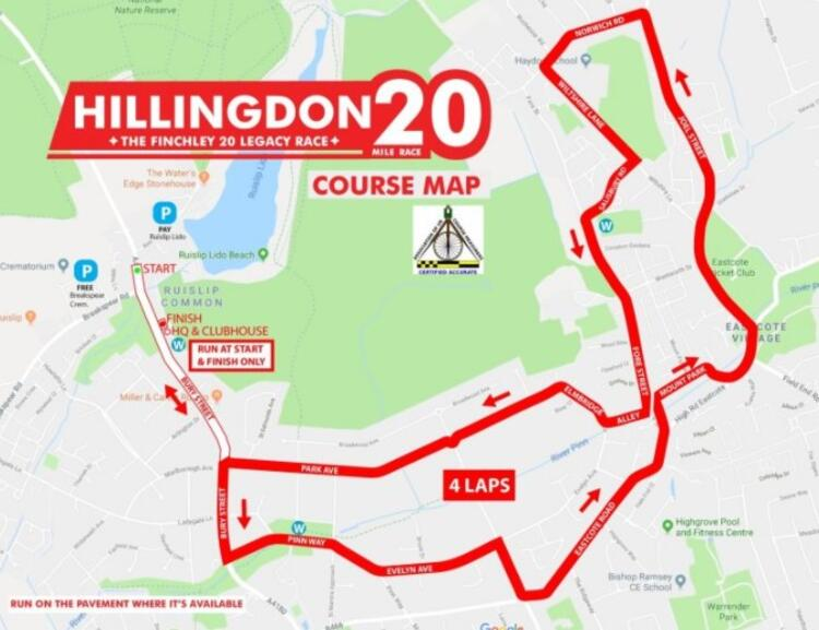 Map of Hillingdon 20 Mile Race Route