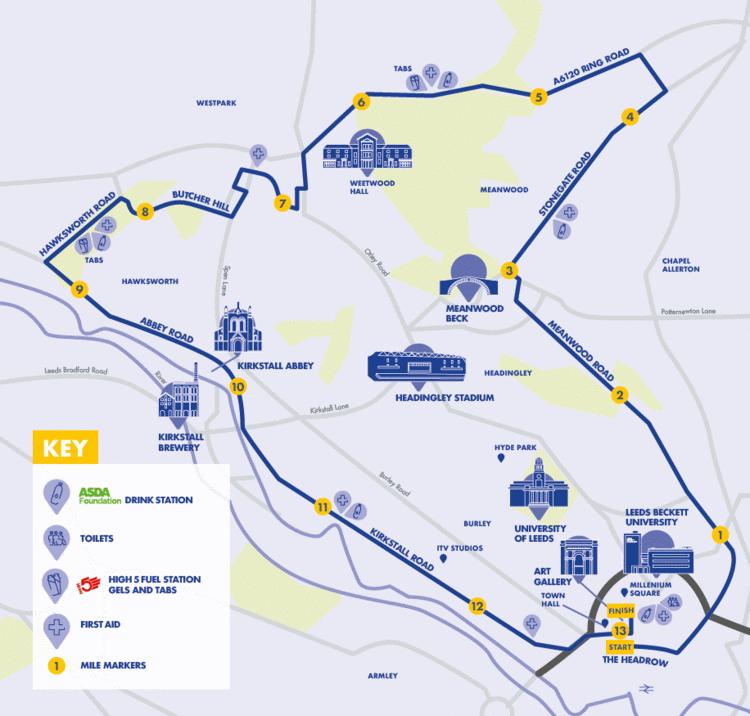 Leeds Half Marathon Route Map