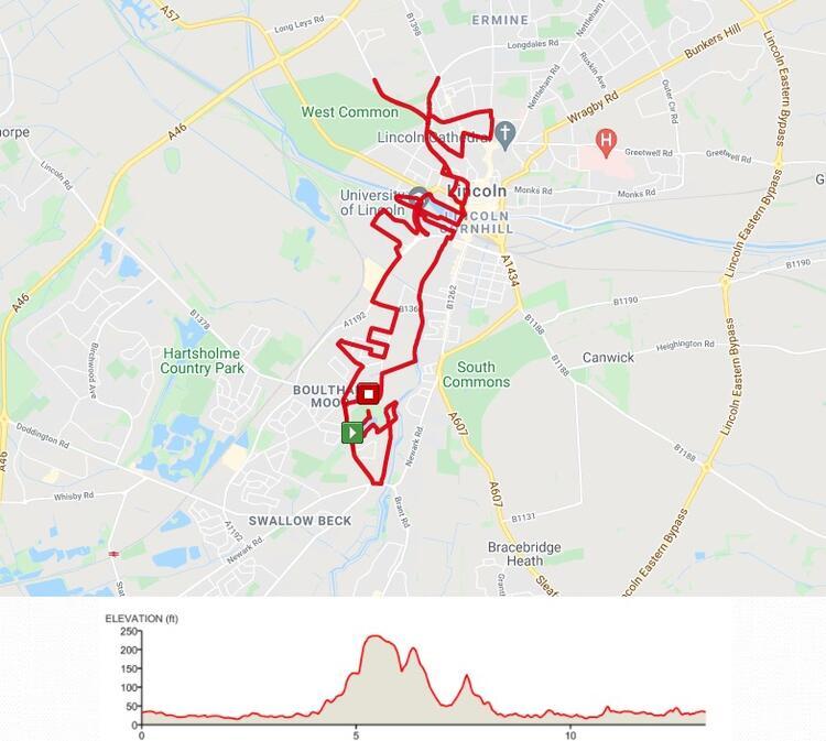 Lincoln City Half Marathon route