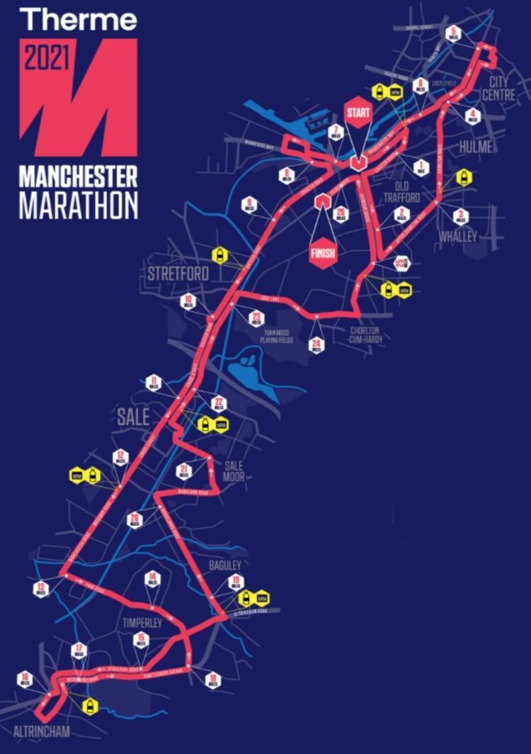 Manchester Marathon Course Route Map