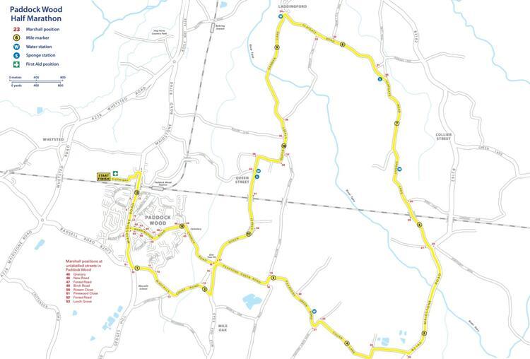 Paddock Wood Half Marathon Course Map
