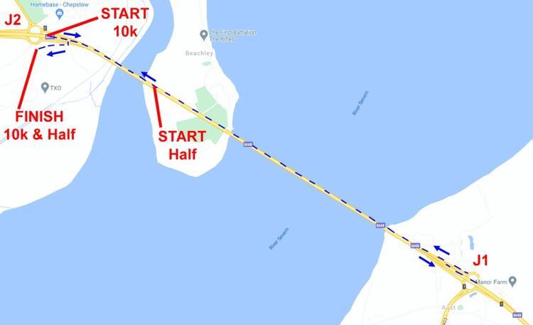 Severn Bridge Half Marathon course