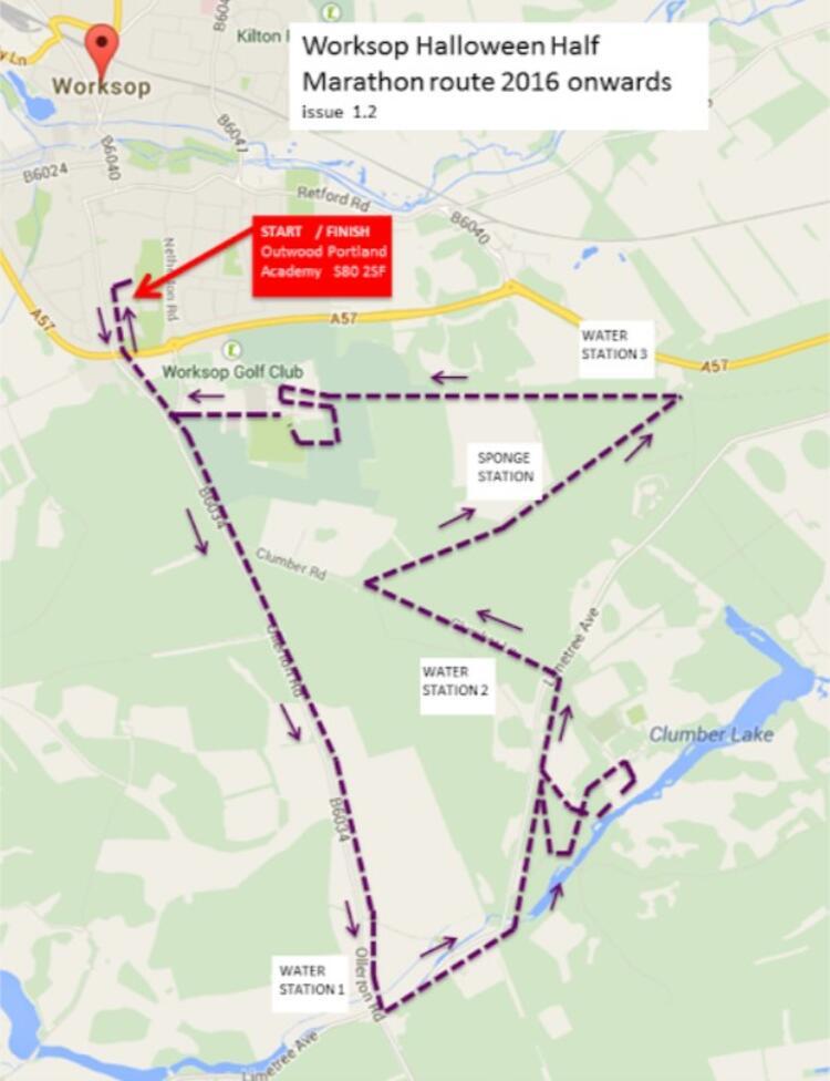 Worksop Half Marathon Route Map